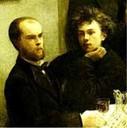 ARTHUR RIMBAUD (1854-1891 A LA DERECHA A SU LADO PAUL VERLAINE (1844-1896)