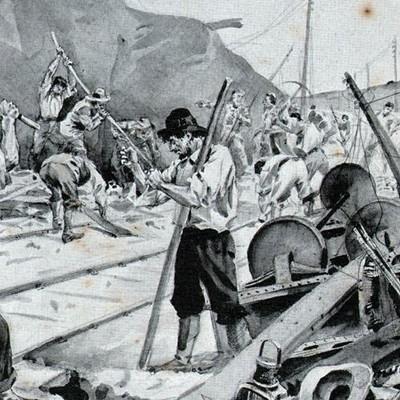 Guerra del Transvaal, bóers que destruyen un ferrocarril