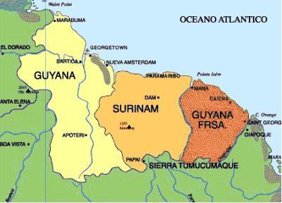 Guyana francesa, Surinam y Guyana inglesa al norte de Brasil