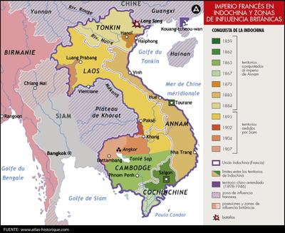 Imperio francés en indochina y zonas de influencia británica