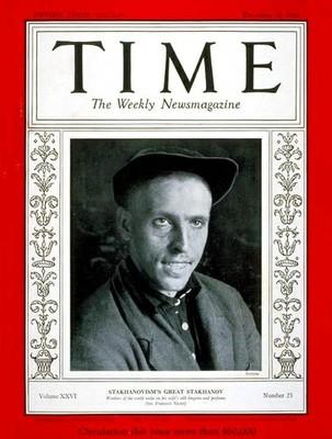 EL MINERO ALEXÉI STAJÁNOV EN LA PORTADA DEL TIME DE DICIEMBRE DE 1935.